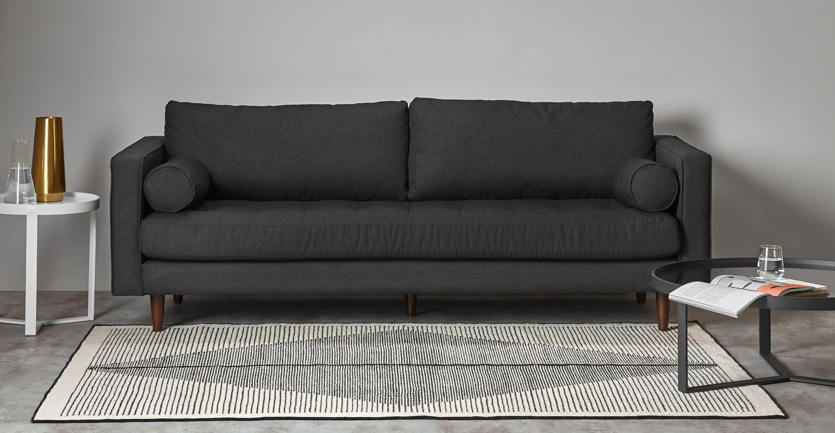 Camden Teppich 160 x 230 cm Schwarz und Dunkelweiß