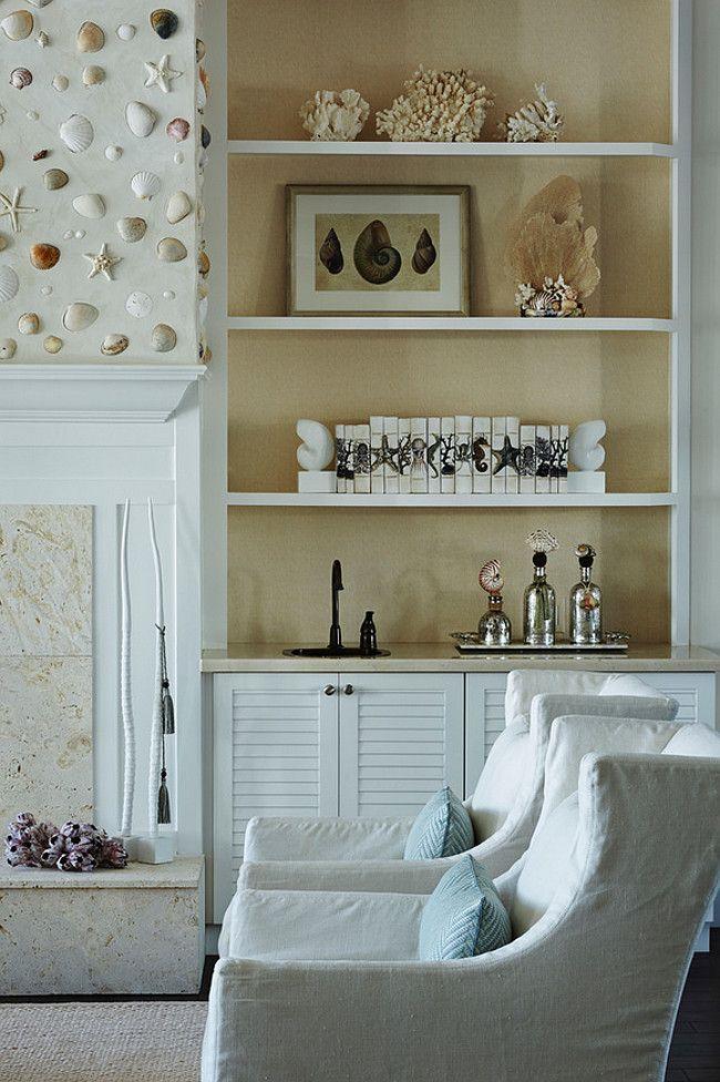 Bookcase Decor Coastal Living Room Bookcase Decor Coastal Living Room With Shell Fireplace And