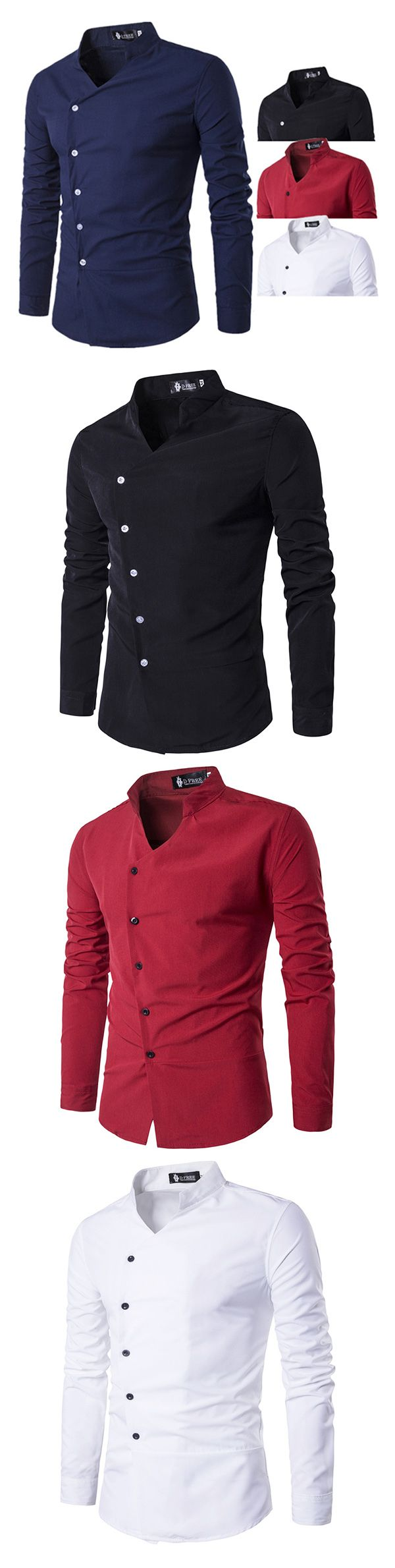 US$16.33 (47% OFF) Slim Fit Designer Dress Shirt for Men: Long Sleeve /  Patchwork Bust Plaid Pocket / Turn Down Collar