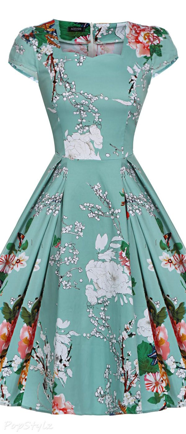 Acevog Vintage 1950s Cap Sleeve Swing Party Dress   Vintage Clothing ...