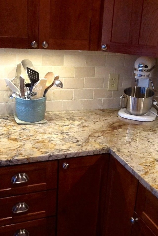 Ordinary Granite Backsplash Ideas Part - 3: Cherry Kitchen Cabinets With Gray Wall And Quartz Countertops Ideas. Granite  BacksplashGranite ...