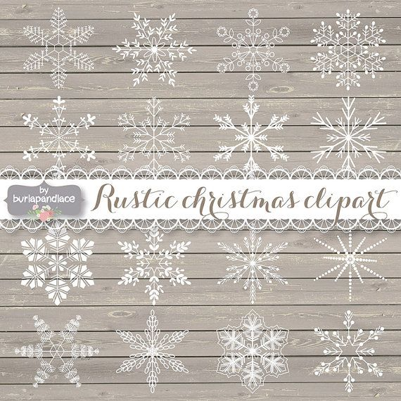 Rustic Christmas Clipart Snowflakes Cliparts Winter Black