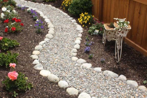 low maintenance front yard landscaping  this path is both good looking and allows for water