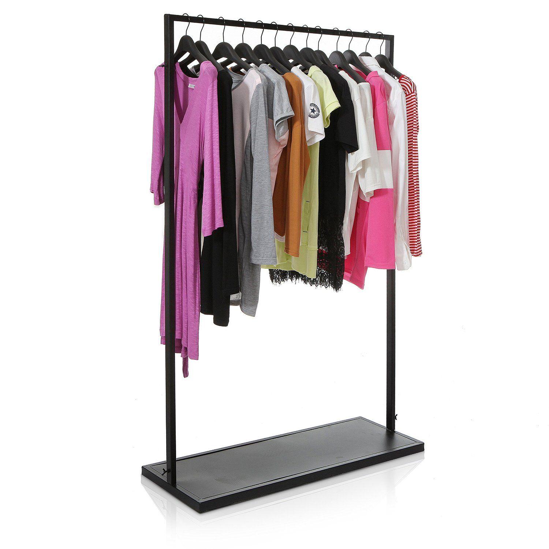 freestanding black metal garment rack