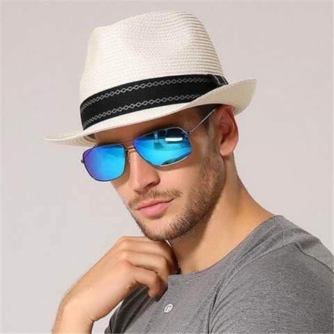 6b2a28357aa085 Summer white panama hat for men UV Gentleman straw sun hats for travel