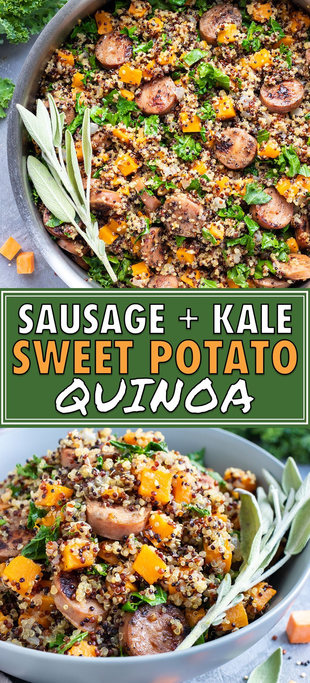 Sausage, Kale & Sweet Potato Quinoa Bowl Sweet potatoes, chicken apple sausage, and kale combine to