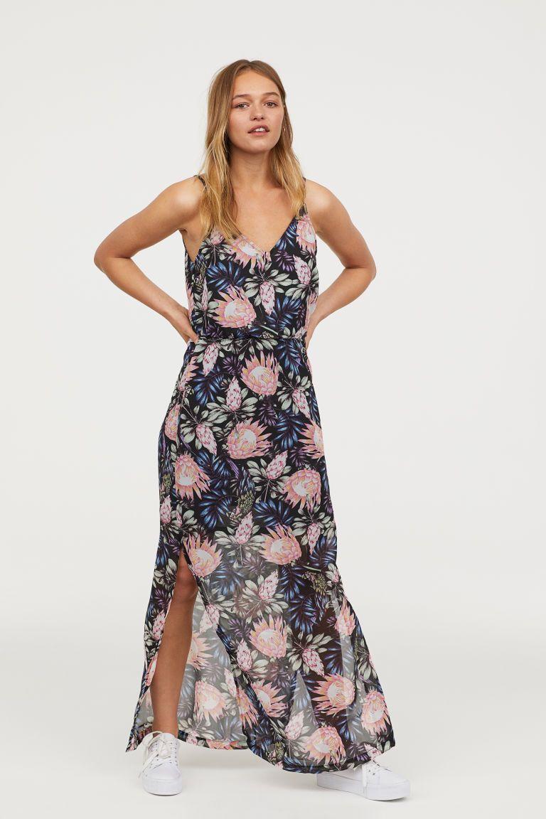c20f79ed440781 Maxi-jurk - Zwart bloemen - DAMES
