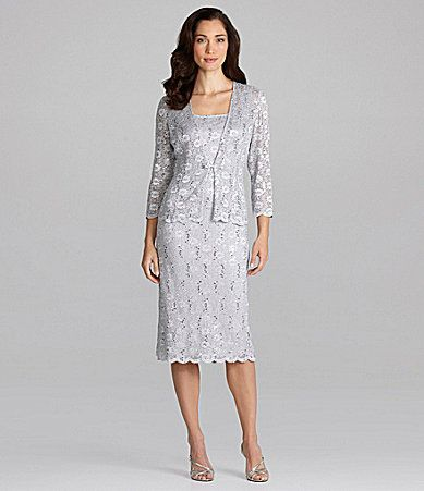 Alex Evenings Petites Lace Jacket Dress #Dillards mother of bride ...