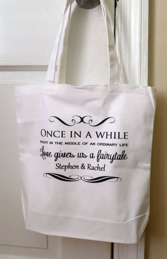 Wedding Tote Bag Bridal Once In A While Fairytale Personalized
