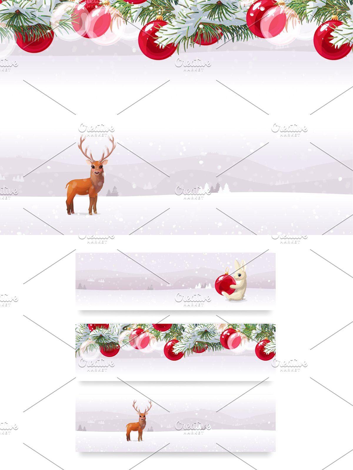 vector 3 seamless borders in 2020 Winter invitations