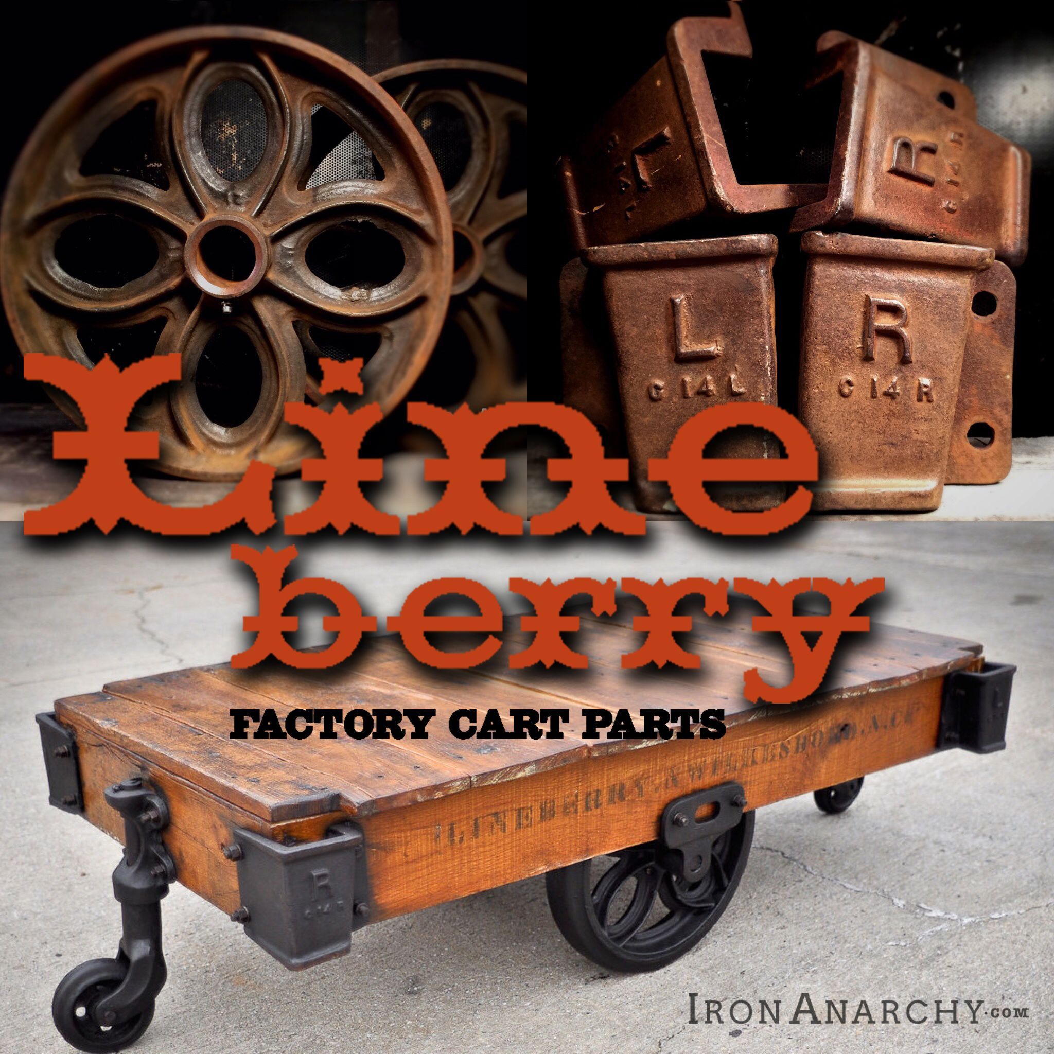 Industrial Rustic Factory Cart Coffee Table: Antique Industrial Casters