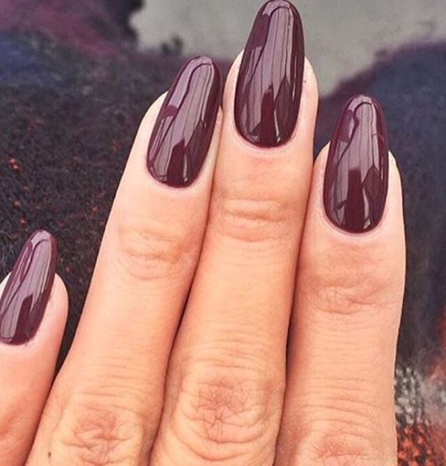 Love The Almond Burgundy Nails So Perfect For Fall Winter