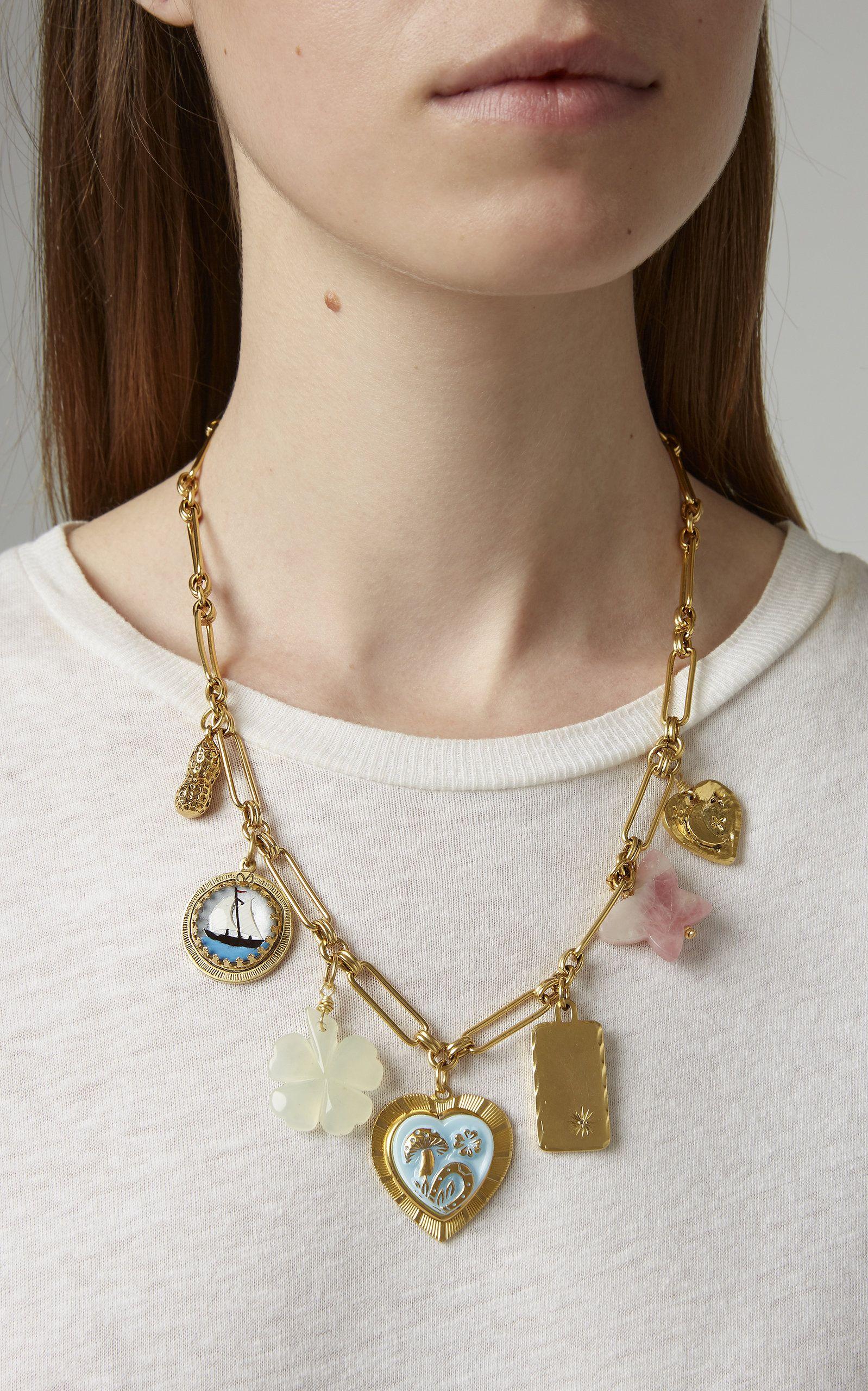 e7447cd0752e9f Brinker & Eliza's 'Mischief Managed' charm necklace features a antique gold  plated brass chain adorned with assorted vintage charms. Click product to  zoom