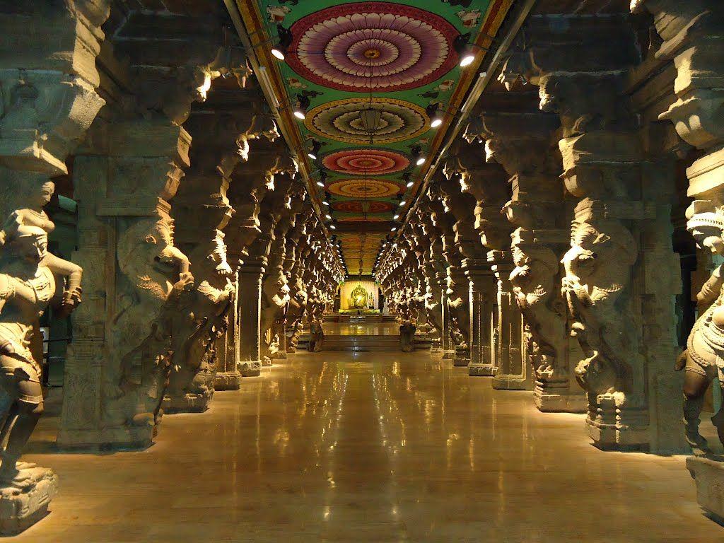 1000 pillar mandap, Meenakshi Sundareswara Koil, Tamil ...