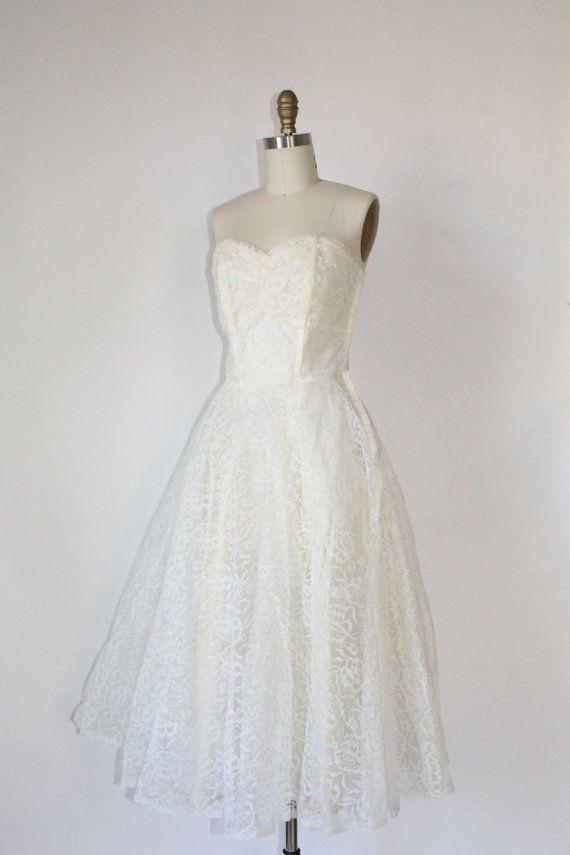1950s Wedding Bells dress white lace full skirt by WildPoppyGoods ...