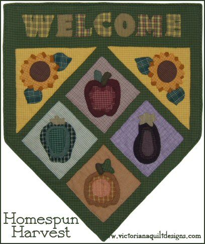 Homespun Harvest Welcome Quilt Pattern http://www.victorianaquiltdesigns.com/VictorianaQuilters/PatternPage/HomespunHarvest/HomespunHarvest.htm #quilting