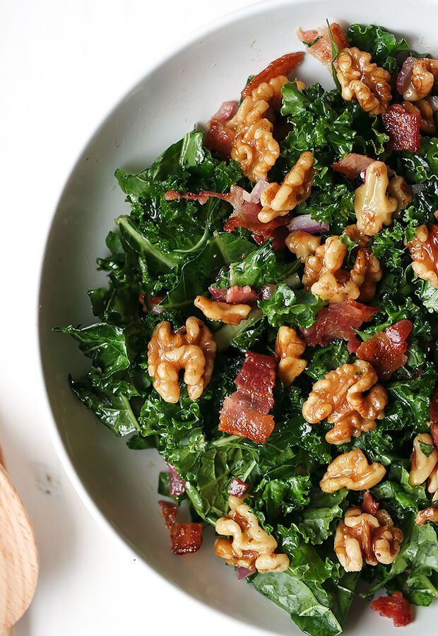 Maple Bacon and Walnut Kale Salad | Ruled Me  Maple Bacon and Walnut Kale Salad | The robust kale l