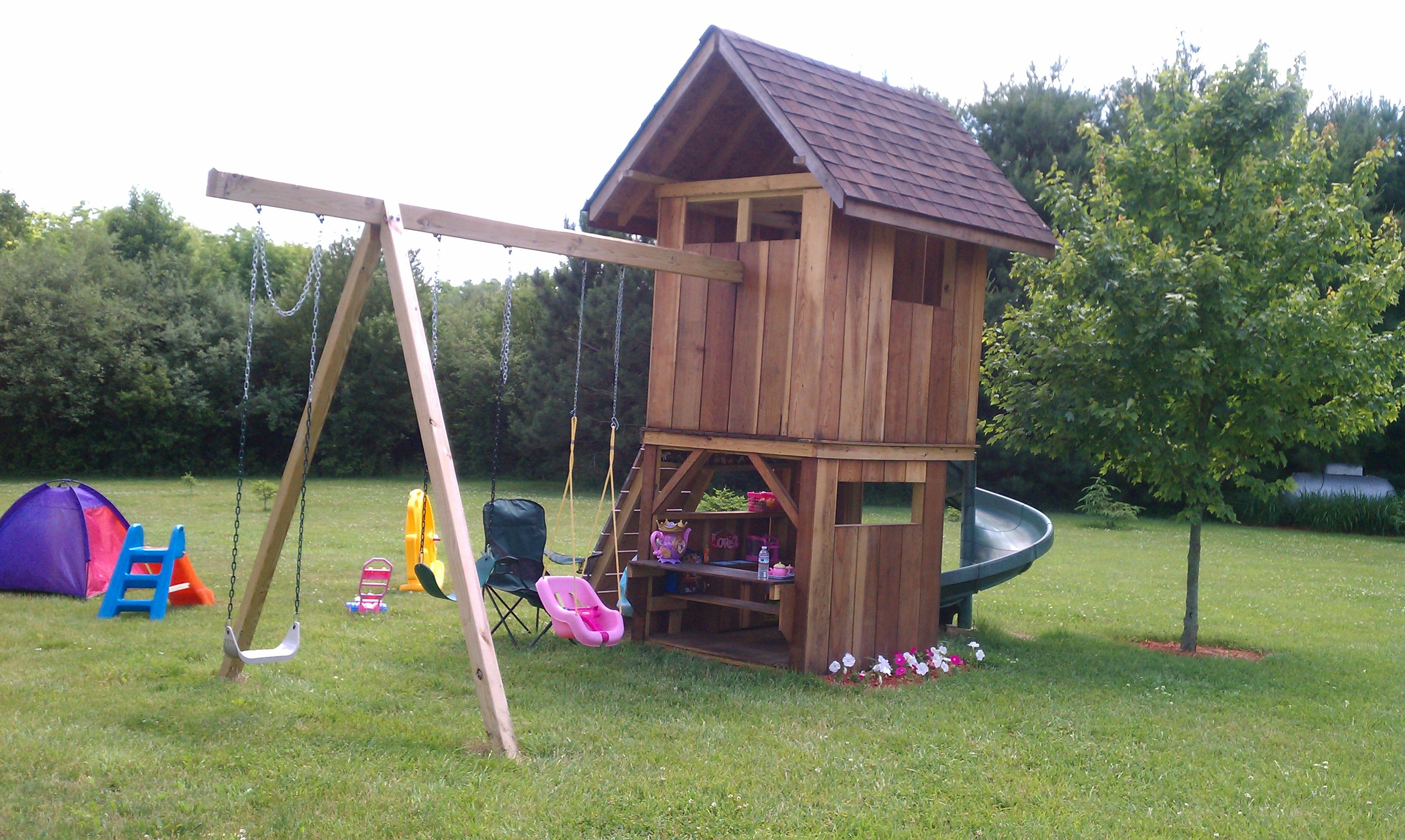 Exceptionnel Kids Playhouse With Kitchen On First Floor, Three Swings, Climbing Board To  Second Floor With Spiral Slide Access.