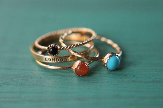 3 solide 14 k or empilement bagues à pierres et bande personnalisée définie de 4 anneaux