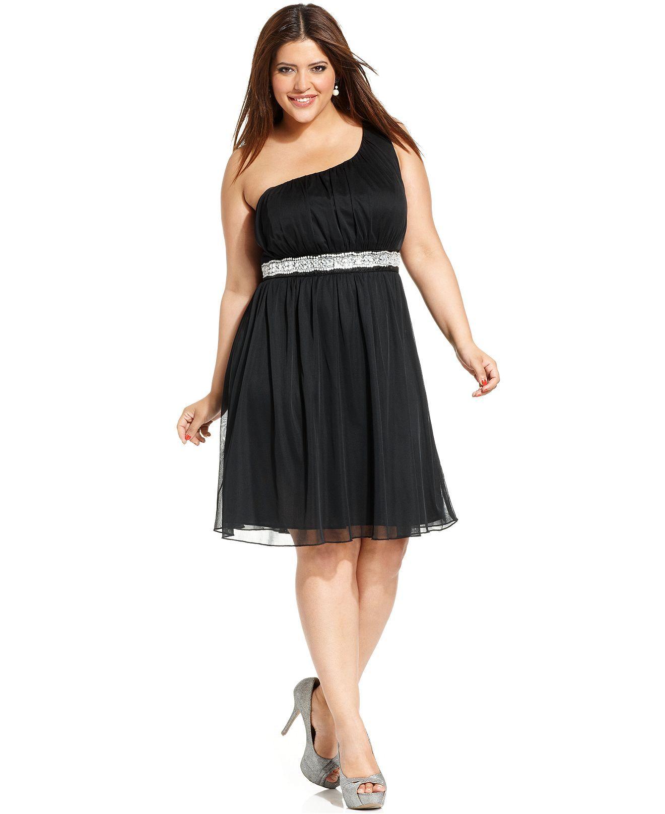 Trixxi plus size dress oneshoulder embellished plus size dresses