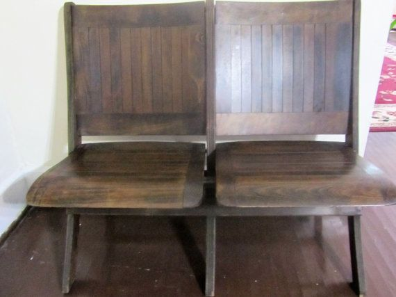 Peachy Antique Vintage Folding Bench Theater Seats Town Hall Caraccident5 Cool Chair Designs And Ideas Caraccident5Info