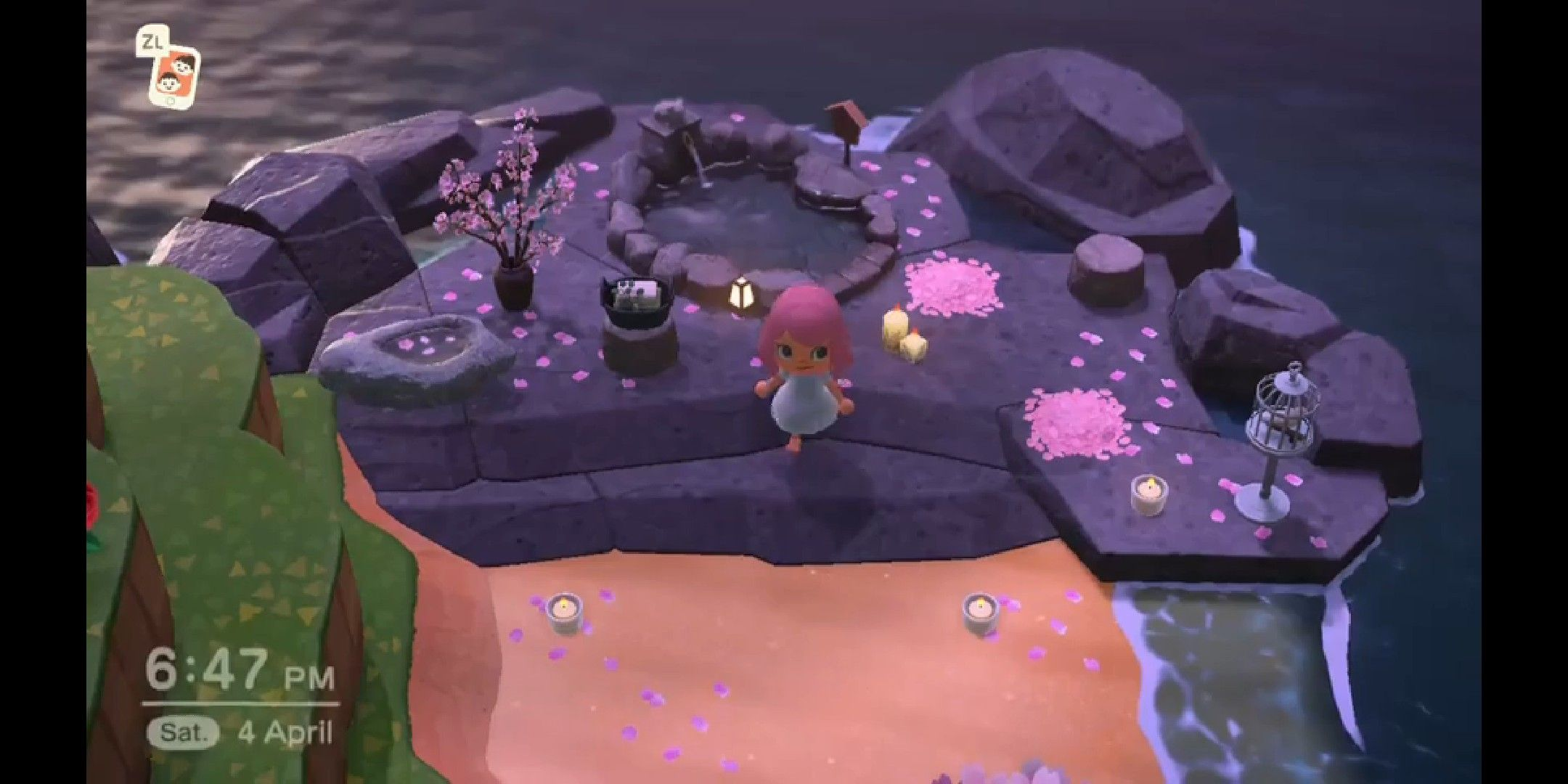 Acnh Sakura Onsen In 2020 Animal Crossing 3ds Animal Crossing New Animal Crossing