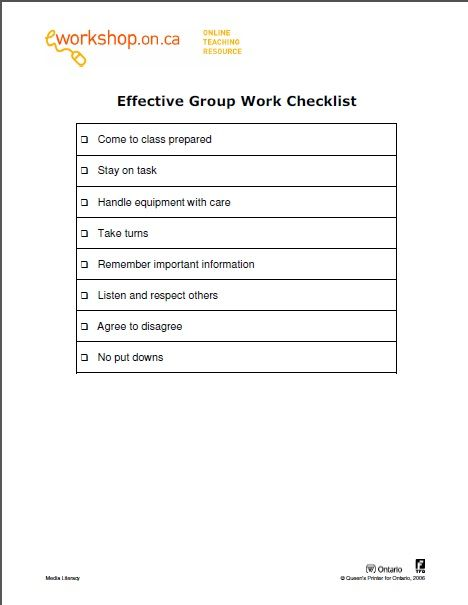 EWorkshops Effective Group Work Checklist  Assessment Oral