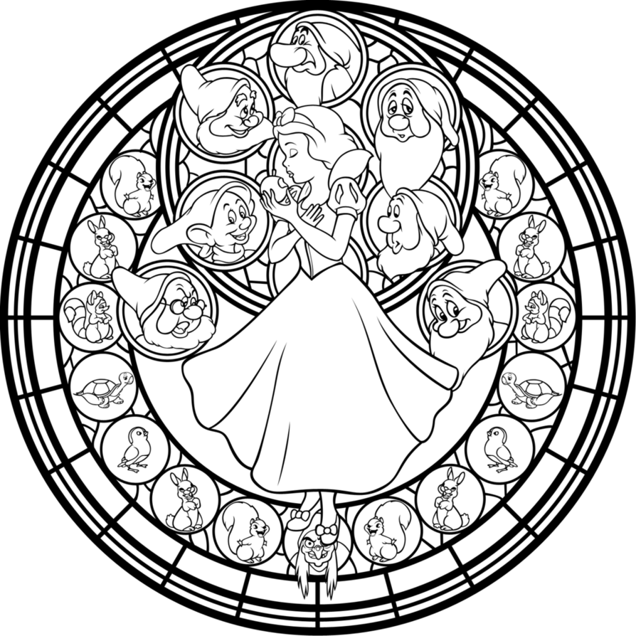 Disney Snow White Stained Glass Coloring Page (Snow White and the ...