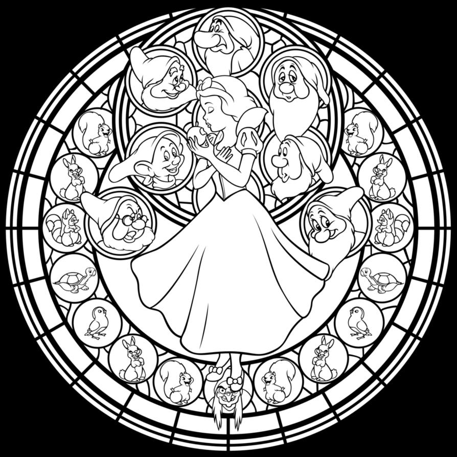 Snow white coloring games online - Disney Snow White Stained Glass Coloring Page Snow White And The Seven Dwarfs