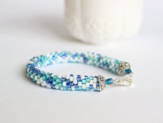 Bead crochet rope bracelet in turquoise and white by BibaStore on Etsy