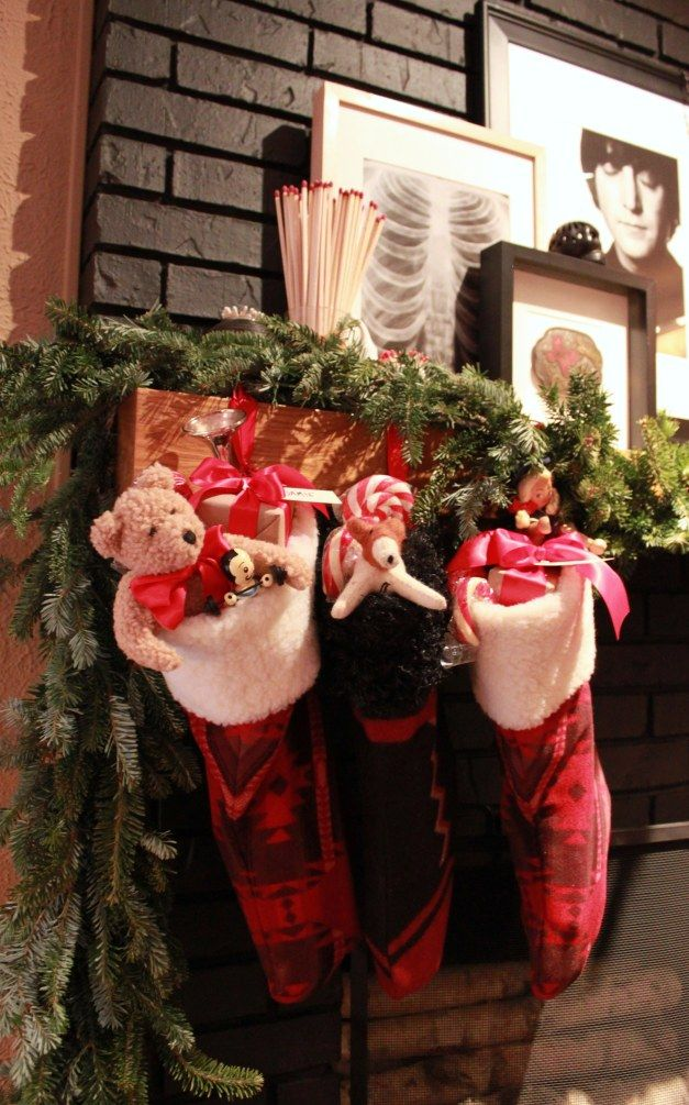 Christmas Stockings on the Den Mantle, Hung with Care