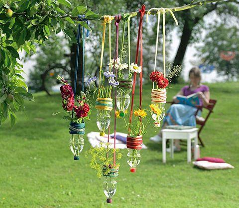 Hängevasen aus PETFlaschen Flaschengarten, Garten deko