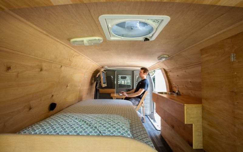 Ross Lukeman Transforms Cargo Van Into Tiny Home Office On Wheels