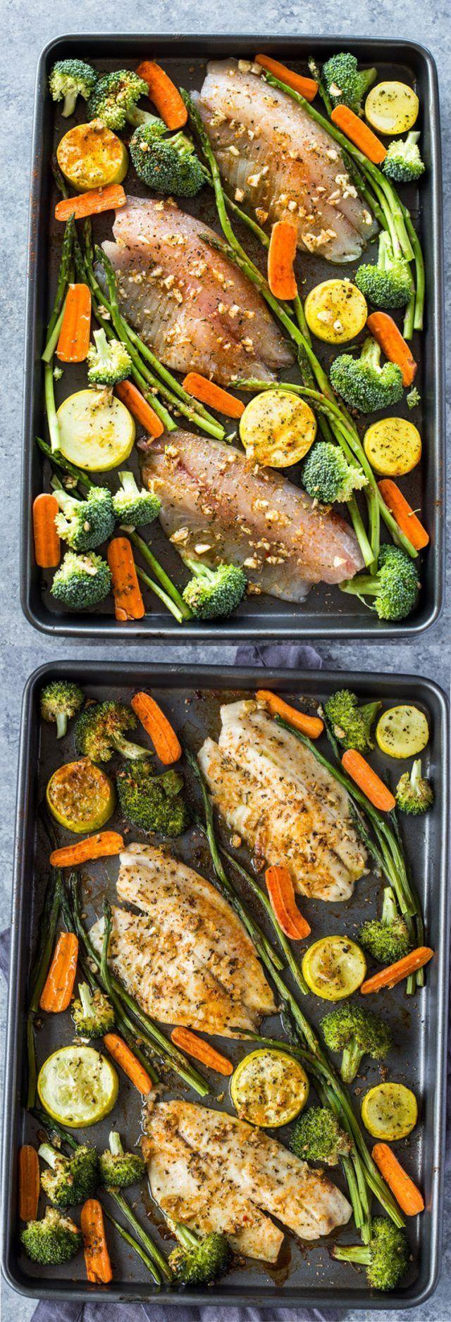 Healthy Sheet Pan Tilapia and Veggies + Meal-Prep images