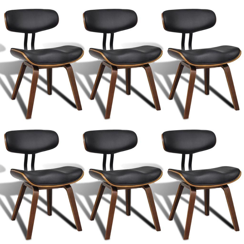 Zestaw 6 wygodnych krzeseł jadalnianych, będzie punktem centralnym każdego pokoju. Ich prosta i gładka forma zapewni Ci komfort siedzenia. Krzesła jadalniane, obite wysokiej jakości sztuczną skórą, są dobrze wyściełane, aby zapewnić Ci optymalny komfort. Wytrzymała, gięta rama dodaje unikalności i stylu. 4 drewniane nogi zapewniają stabilność i wytrzymałość. Ergonomiczna konstrukcja sprawia, że krzesła są bardzo wygodne. W przesyłce znajduje się 6 krzeseł ze sztucznej skóry Kolor: czarny i brązo