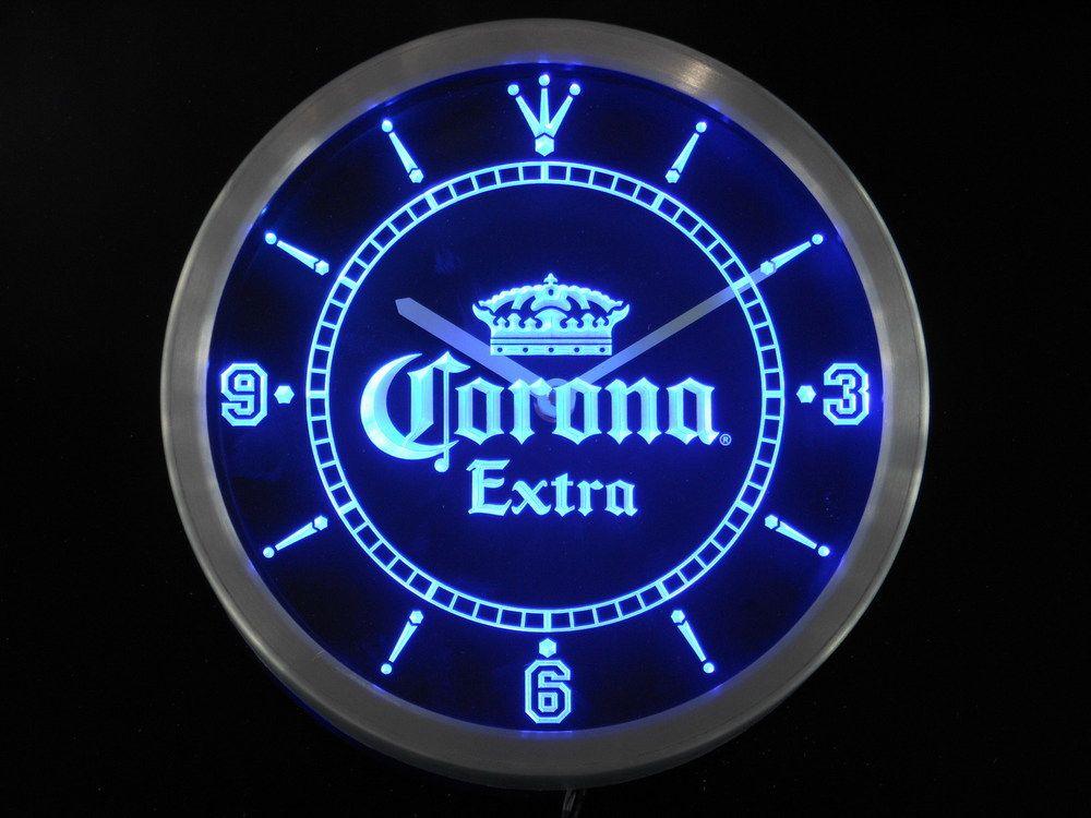 Nc0092 Corona Extra Crown Beer Bar Neon Sign Led Wall Clock Wholesale Dropshipping In Wall Clocks From Home Garden Led Wall Clock Wall Clock Light Led Clock