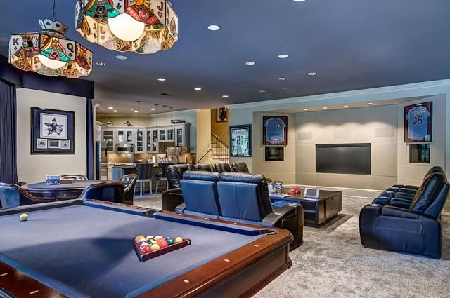 Man Cave Sports Fanatic Pool Table And Theater Seating Blue - Pool table seating