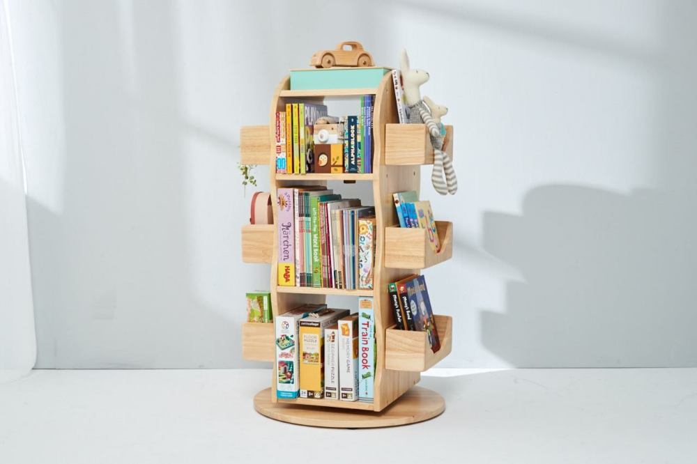 Bunny Tickles Revolving Solid Wood Bookcase In 2020 Wooden