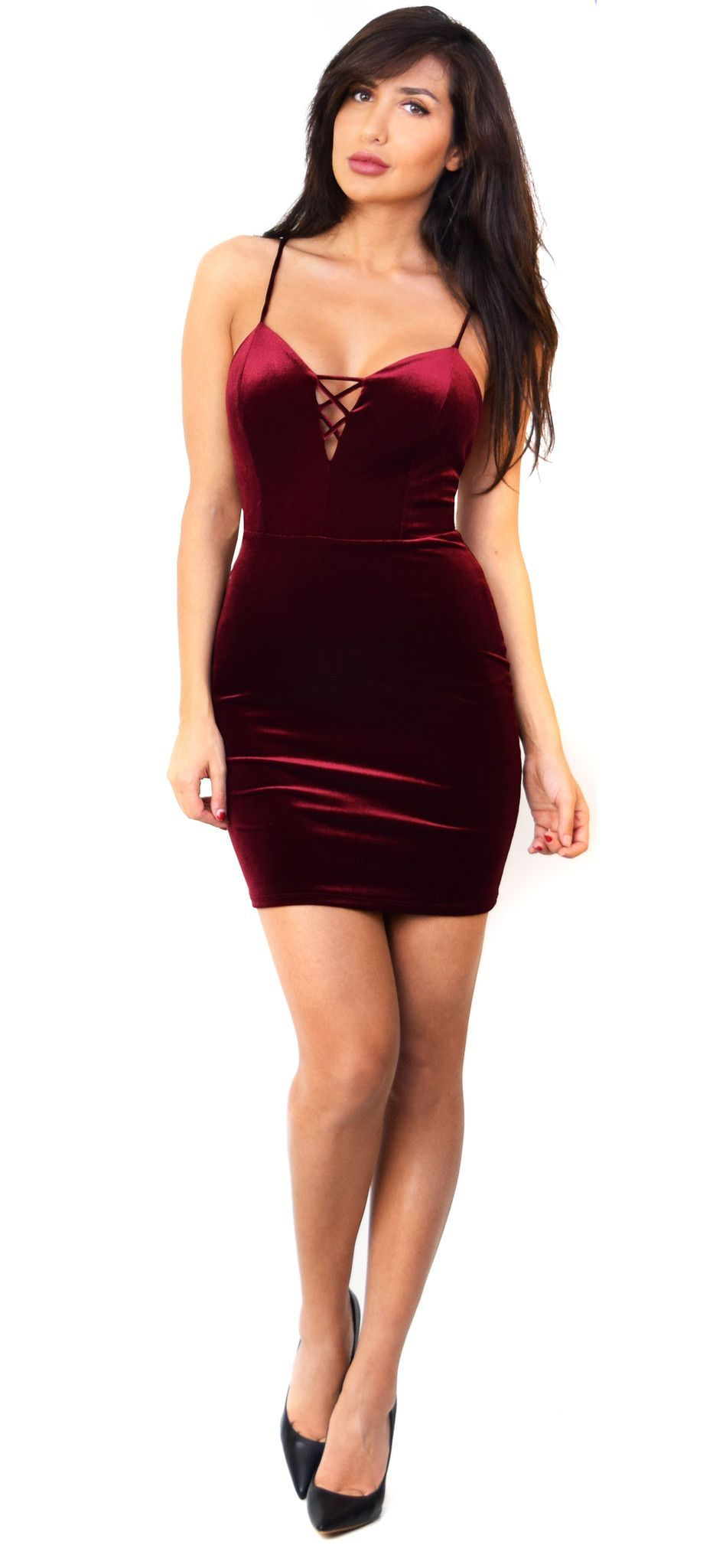 ce03a10fd510 Burgundy Low Back Velvet Dress