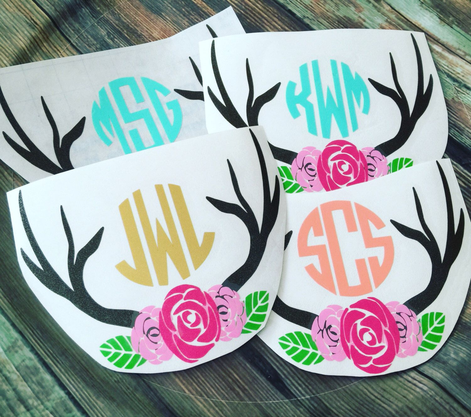 Yeti,Rtic, Sic Cup Decal Antler, Floral Monogram Cup Decals, Vinyl