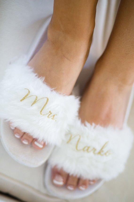 0c81216e668b3 Custom Bridal Flip Flops - Fuzzy Slides in 2019 | Products | Bridal ...