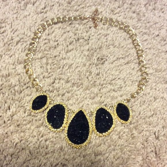 Druzy necklace with gold chain Black Druzy stones with gold. Worn once. Light weight Accessories