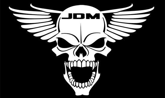Jdm winged skull vinyl decal sticker original face book hella flush illest thevinylshop