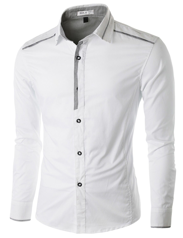 Doublju Men's Casual Button Down Shirt with Piping Detail #doublju ...