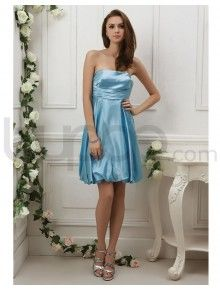 Tea Length Silk Satin Large Bow Detail Behind Ruched Corset Bodice Strapless Neckline Prom Dress (P-0071)