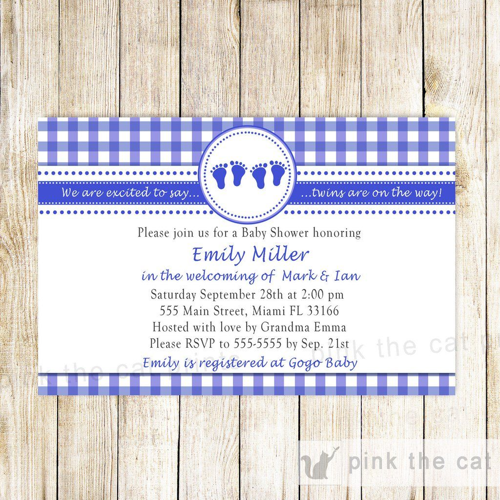 Gingham Invitation Twin Boys Baby Shower Royal Blue | things I love ...