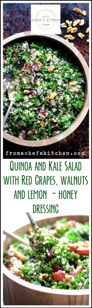 Quinoa and Kale Salad with Red Grapes, Walnuts and Lemon - Honey Dressing. You'll find this salad to be a real keeper!