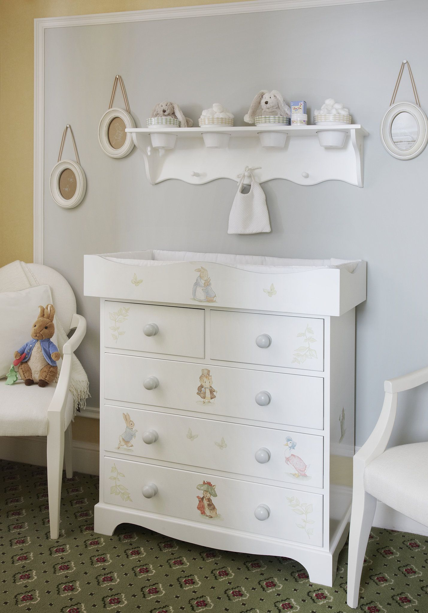 Between the bedroom and the bathroom, Dragons created a baby changing area complete with the Beatrix Potter-themed Bowfront Changer ($491). Source: The Grosvenor House