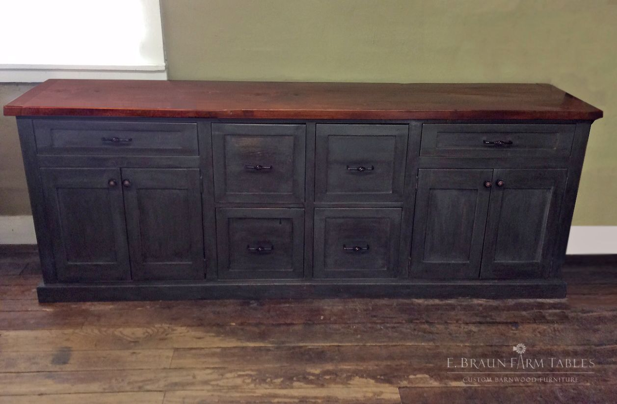 Reclaimed Barn Wood Credenza Filing Cabinets Made To Match The Showroom Desk It Is A Whopping 90 Long Shaker Cabinet Doors Wood Credenza Barnwood Furniture
