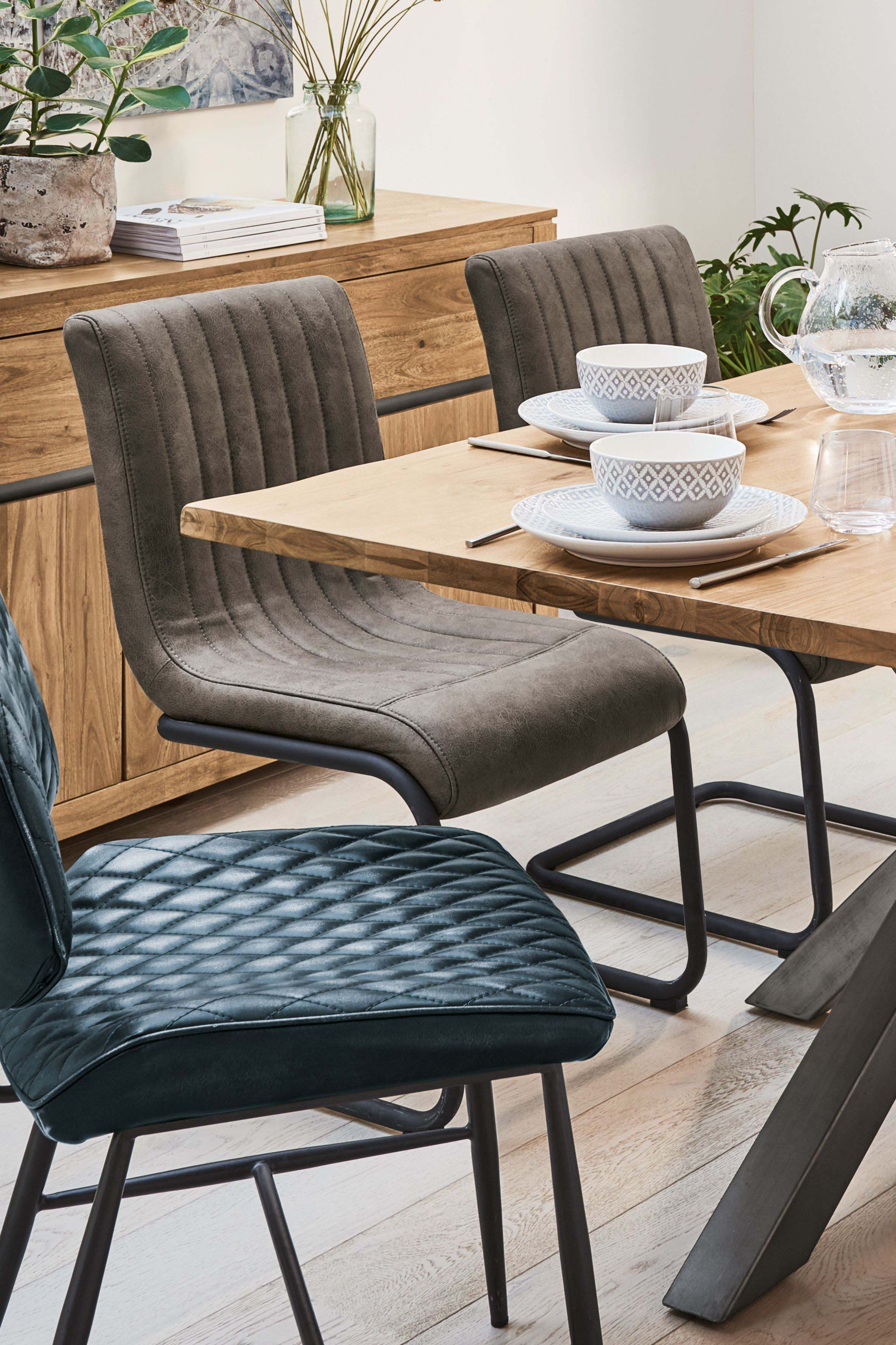 Next Set Of 2 Bernie Faux Leather Dining Chairs Grey